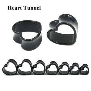 Jewelry - NEW - heart tunnel ear plugs size 8mm/0g, Black